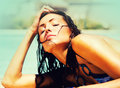 Beautiful Woman Beside Swimmin...