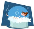 Beautiful woman taking a bath in bathtub this is file of eps format Stock Image