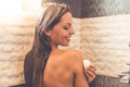 Beautiful woman taking shower Royalty Free Stock Photo