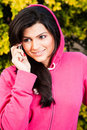 Beautiful woman talking on mobile phone Royalty Free Stock Image