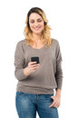 Beautiful woman texting on phone portrait of happy browsing with mobile isolated white background Royalty Free Stock Image