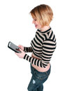 Beautiful woman texting on tablet young using a touch pad for Royalty Free Stock Photo