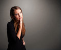 Beautiful woman thinking with empty copy space young Stock Image