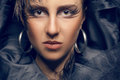 Beautiful woman toned image in gothic style fashion professional make up art blue tonning model clean skin with texture Royalty Free Stock Image