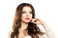 Beautiful Woman Touches her Hand on her Lips Royalty Free Stock Photo