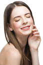 Beautiful woman touching her face Royalty Free Stock Images