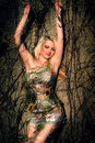Beautiful woman and a tree in garden park Royalty Free Stock Photography