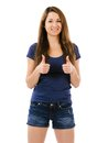 Beautiful woman with two thumbs up photo of an happy young female doing the gesture over white background Royalty Free Stock Photos