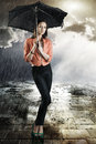 Beautiful woman with umbrella, Stock Image