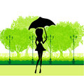 Beautiful woman with umbrella illustration Stock Photography