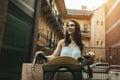 Beautiful woman using bike Royalty Free Stock Photo