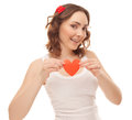 Beautiful woman with valentines card heart shaped Stock Photo