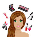 Beautiful woman and various cosmetics cartoon personal care Royalty Free Stock Images