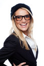 Beautiful woman with a vivacious smile wearing heavy rimmed glasses and black beret laughing at the camera isolated on white Stock Images