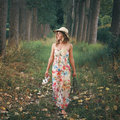 Beautiful woman walking barefooted in nature Royalty Free Stock Photo