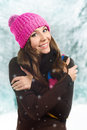 Beautiful woman in warm clothing closeup portrait Stock Photo