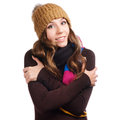 Beautiful woman in warm clothing closeup portrait Stock Image