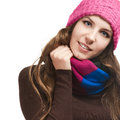 Beautiful woman in warm clothing closeup portrait Royalty Free Stock Photos