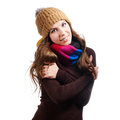Beautiful woman in warm clothing closeup portrait Royalty Free Stock Images