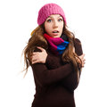Beautiful woman in warm clothing closeup portrait Royalty Free Stock Image