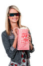 Beautiful woman watching d movie young a with popcorn Royalty Free Stock Photography