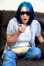 Beautiful Woman Watching TV Stock Photography