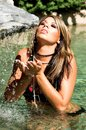 Beautiful Woman in Waterfall Royalty Free Stock Photo