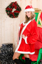 Beautiful woman wearing santa claus clothes Royalty Free Stock Photo