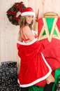 Beautiful woman wearing santa claus clothes Royalty Free Stock Images