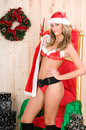 Beautiful woman wearing santa claus clothes Stock Photos