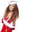 Beautiful woman wearing a santa costume portrait of Stock Photos