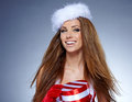 Beautiful woman wearing a santa costume portrait of Royalty Free Stock Photography