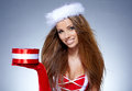 Beautiful woman wearing a santa costume portrait of Royalty Free Stock Images