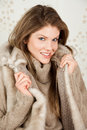 Beautiful woman wearing winter coat Stock Photos