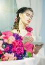 Beautiful woman wedding bouqet roses Royalty Free Stock Photos