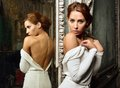Beautiful woman in white dress with naked back. Royalty Free Stock Photo