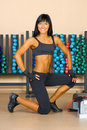 Beautiful woman who exercise in the sport club. Royalty Free Stock Photo