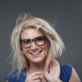 Beautiful woman with a wild blond hairstyle Royalty Free Stock Photo