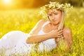 Beautiful Woman In Wreath Of F...