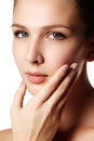 Beautiful woman young model with red lips and natural manicure. Royalty Free Stock Photo