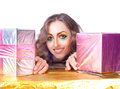 Beautiful womanl with bright make-up and gift box Royalty Free Stock Image