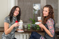 Beautiful women drink tea and chat homes two Stock Photography