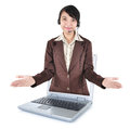 Beautiful women entrepreneurs out of a laptop with open arms woman isolated on white background Royalty Free Stock Photos