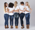 Beautiful women with jeans Royalty Free Stock Photo