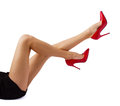 Beautiful women legs woman in red high heel shoes Royalty Free Stock Photo