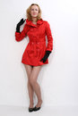 Beautiful women in red coat. Royalty Free Stock Photography