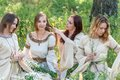 Beautiful women relaxing on nature Royalty Free Stock Photos