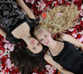 Beautiful women in rose petals Royalty Free Stock Photo