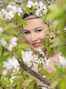 Beautiful women was blossoming garden Stock Image