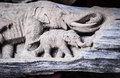 Beautiful Wood carving of elephant family. Antique Art Handmade Royalty Free Stock Photo